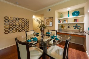 Three Bedroom Apartments for Rent in Katy, TX - Dining Room with Built in Book or Display Shelving