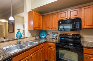 Three Bedroom Apartments for Rent in Katy, TX - Kitchen with Double Sinks, Oven and Microwave